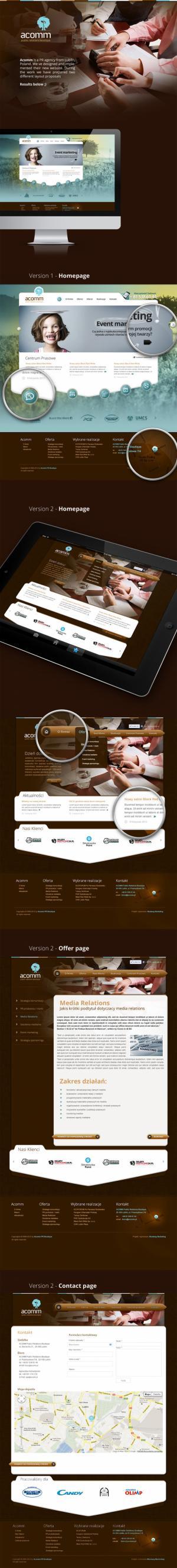 Projekt strony www dla Acomm PR Boutique - Warszawa
